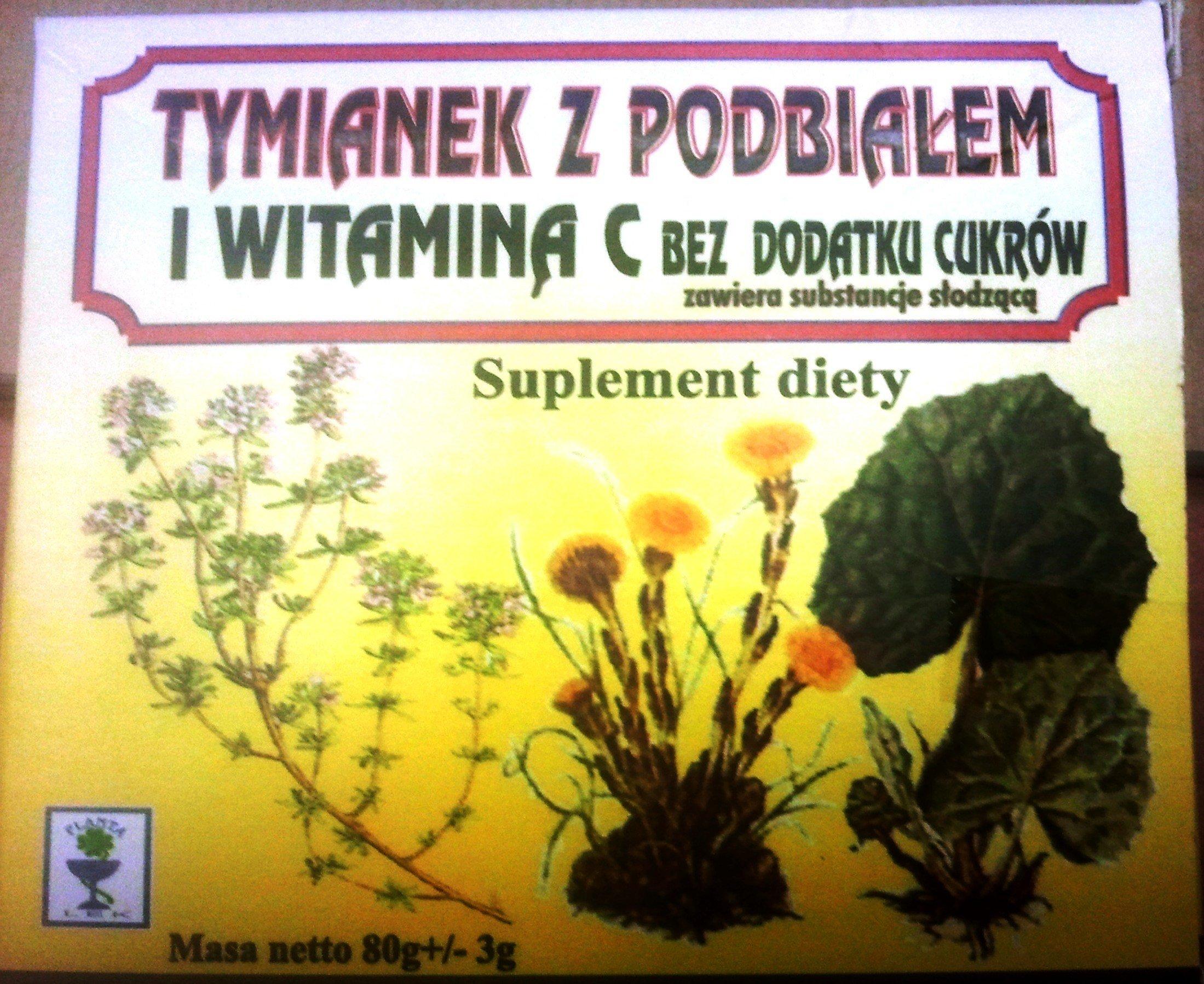 Karmelki TYMIANEK z podbiałem i witaminą C bez cukru 80g