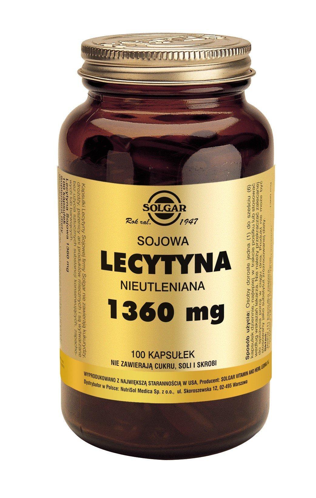 Lecytyna Sojowa Nieutleniania 1360 mg SOLGAR