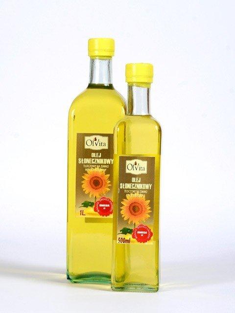 Olej słonecznikowy tłoczony na zimno nieoczyszczony 500 ml