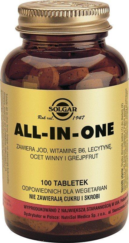 ALL-IN-ONE (zawiera, jod, wit. B6, lecytynę, grapefruit, ocet winny) SOLGAR