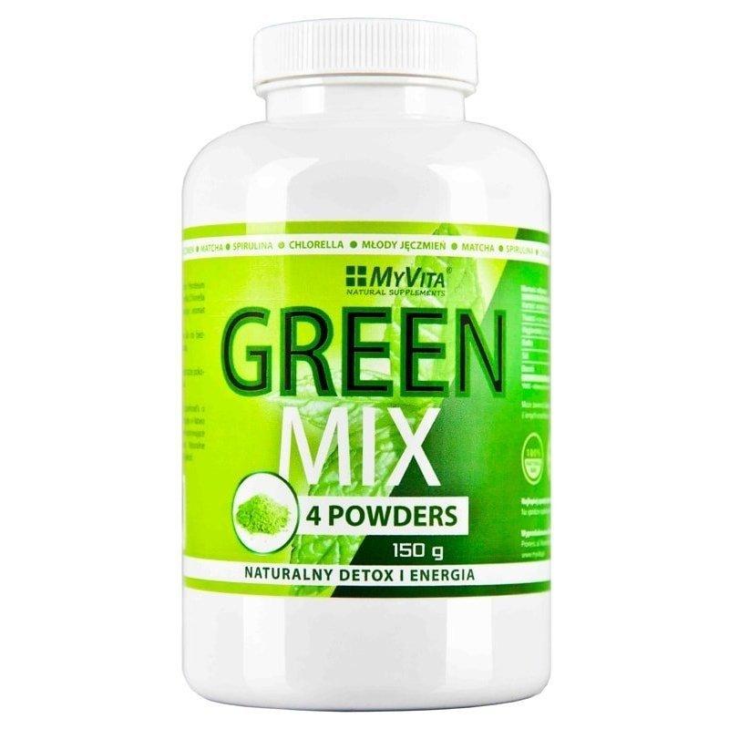 GREEN MIX 4W1 SPIRULINA CHLORELLA MŁODY JĘCZMIEŃ MATCHA 150G MYVITA
