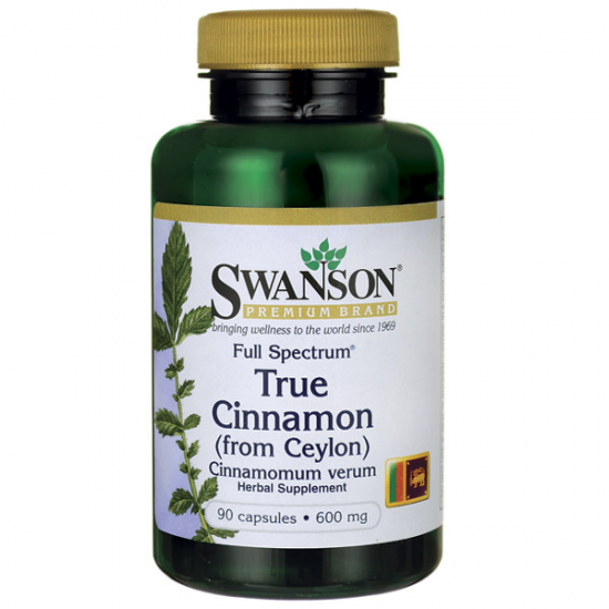 SWANSON, Full Spectrum True Cinnamon (Cejloński) 600mg 90kap