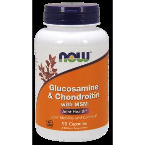 NOOW FOODS, Glucosamine&Chondroitin with MSM(glukozamina) , 90kap.
