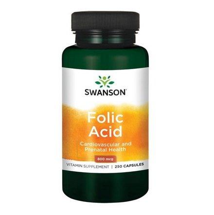 SWANSON Folic Acid 250 kaps. Kwas Foliowy