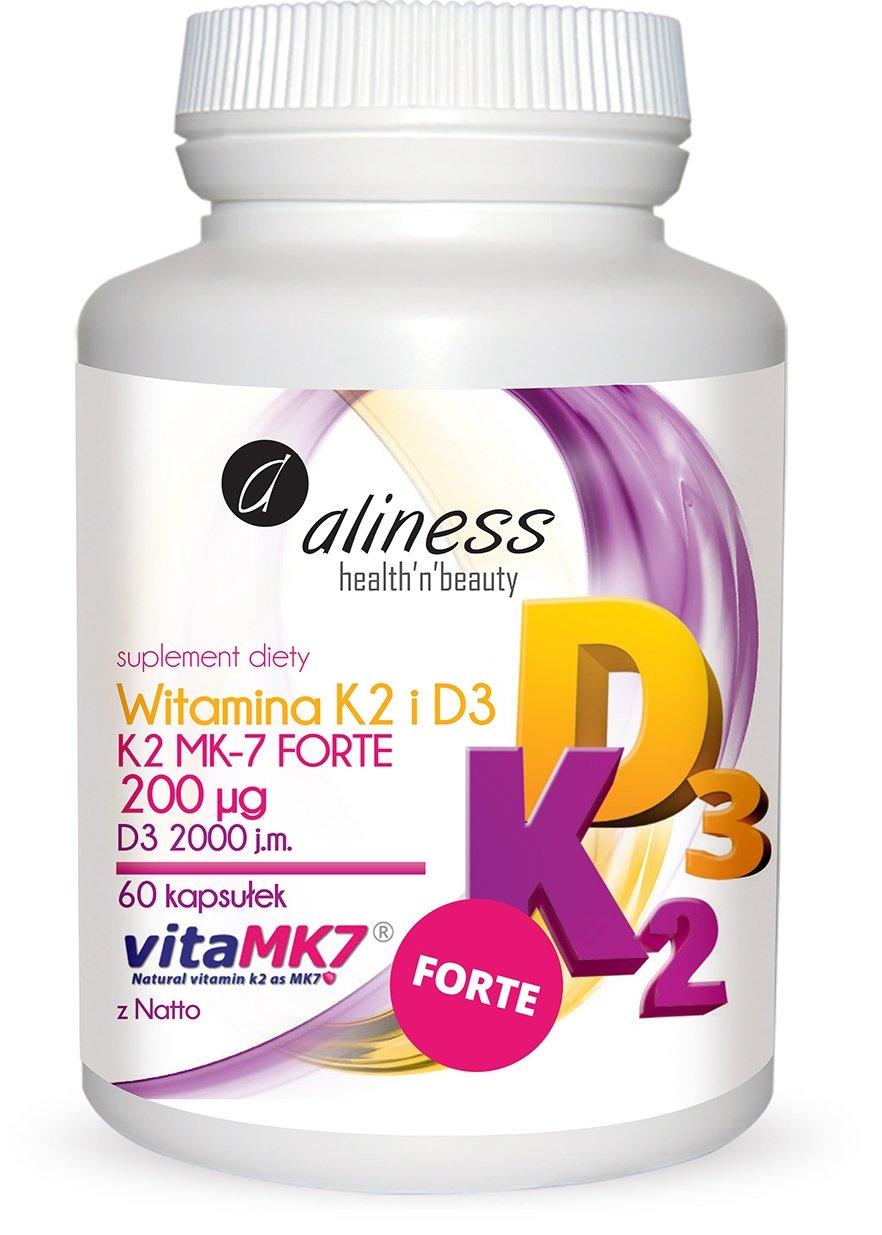 Aliness Naturalna Witamina K2 FORTE MK-7 200 µg z Natto + D3 60 kapsułek