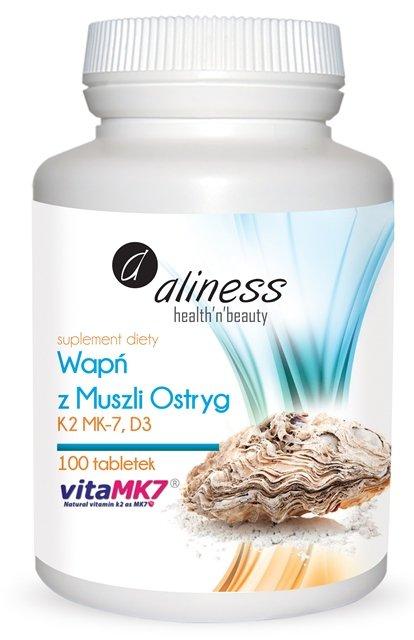 Aliness Wapń z muszli ostryg z K2 MK7 i D3 x 100 tabletek