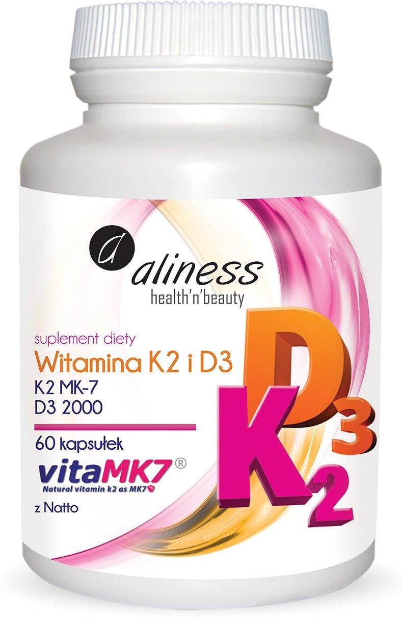 Aliness Witamina K2 MK-7 100 µg z Natto + D3