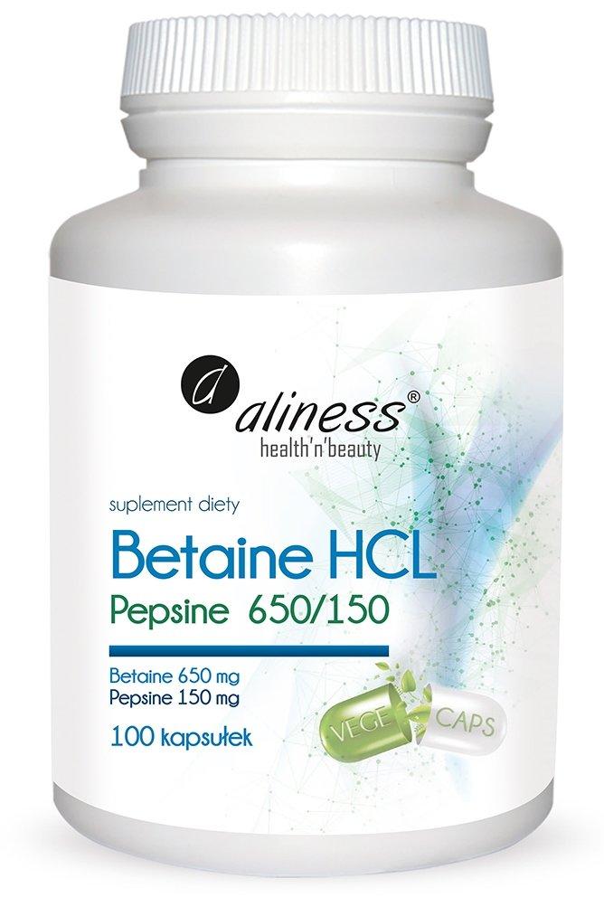 Aliness Betaine HCL, Pepsyna 650 / 150 mg - 100 kapsułek