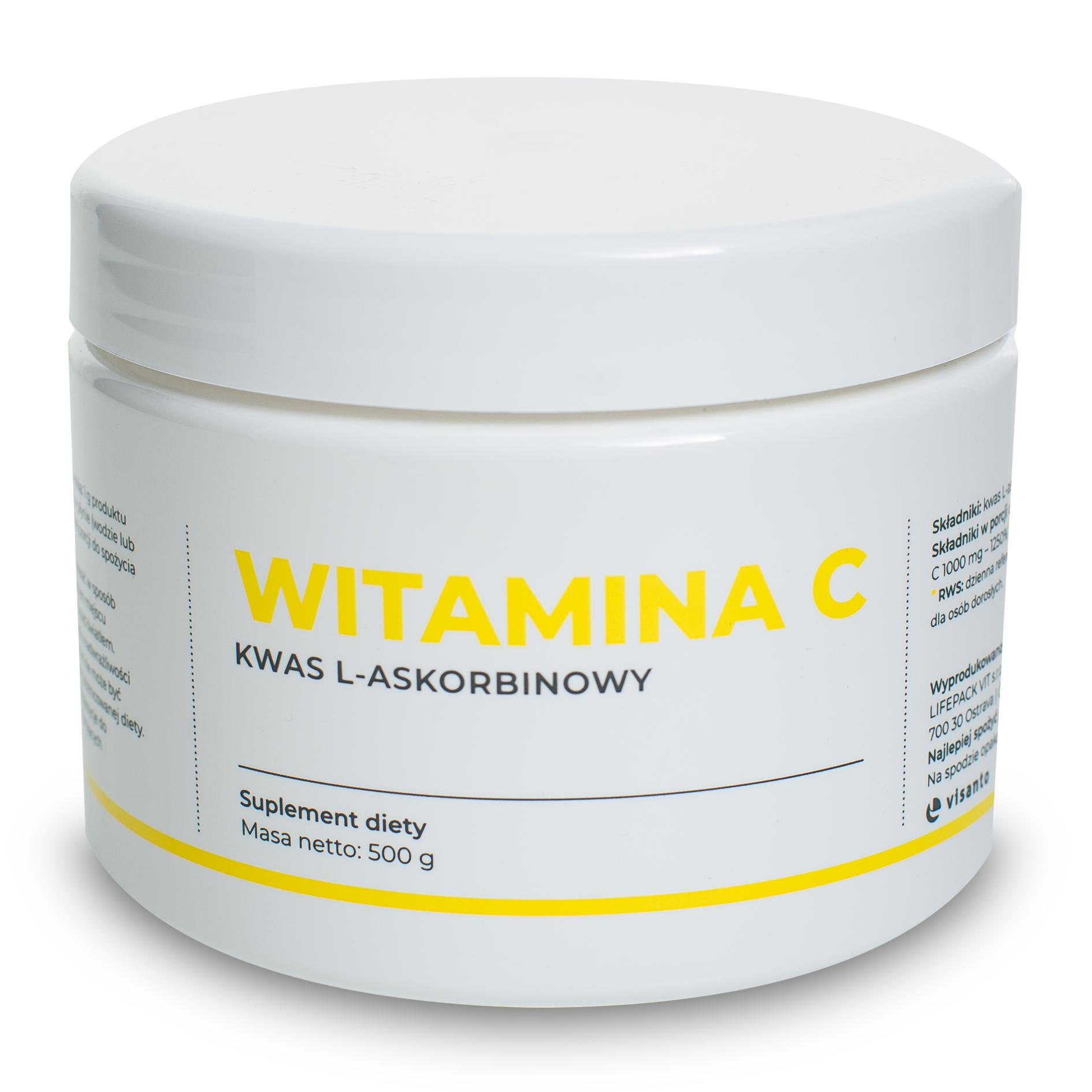 Ukryte terapie WITAMINA C 100% L-KWAS ASKORBINOWY 500G