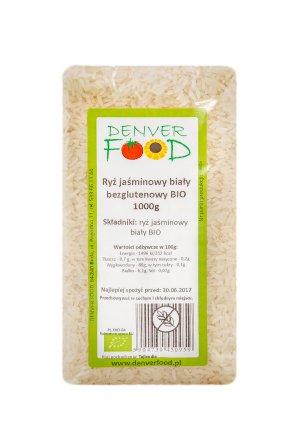 Ryż jaśminowy biały bezglutenowy BIO 1000g DENVER