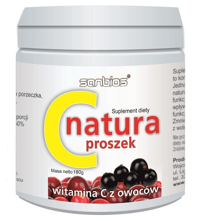 C Natura Proszek 180g - Witamina C z Owoców Sanbios