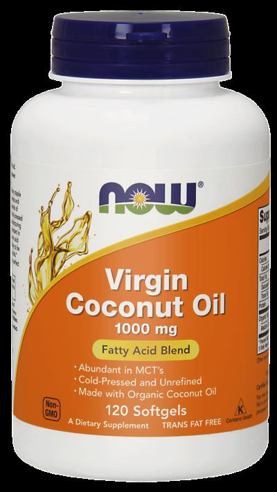 Coconut Oil Virgin (Olej z kokosa) 1000mg 120 kaps. Now foods